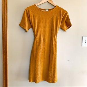 NWOT Zara Tie Front Mustard Mini Dress